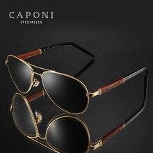 CAPONI 2020 الطيار النظارات الشمسية الاستقطاب UV400 عالية الجودة إطار خشبي نظارات شمسية للرجال العلامة التجارية الفاخرة القيادة نظارات CP409