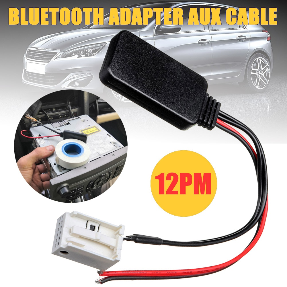 Cable Adapter Fit for Peugeot 207 307 407 308 Fit for Citroen C2 C3 RD4 Car 12Pin Bluetooth Wireless Radio Stereo AUX-IN Aux