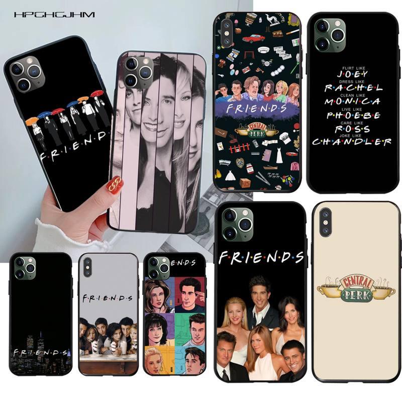 HPCHCJHM przyjaciele razem czarny TPU miękka obudowa telefonu pokrywa dla iPhone 11 pro XS MAX 8 7 6 6S Plus X 5S SE 2020 XR przypadku