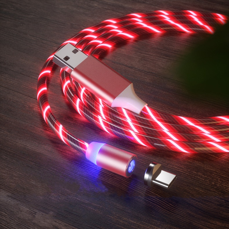 Fast Charging USB Cable Flowing Light Mobile Phone Cable USB Magnetic Charger Cable