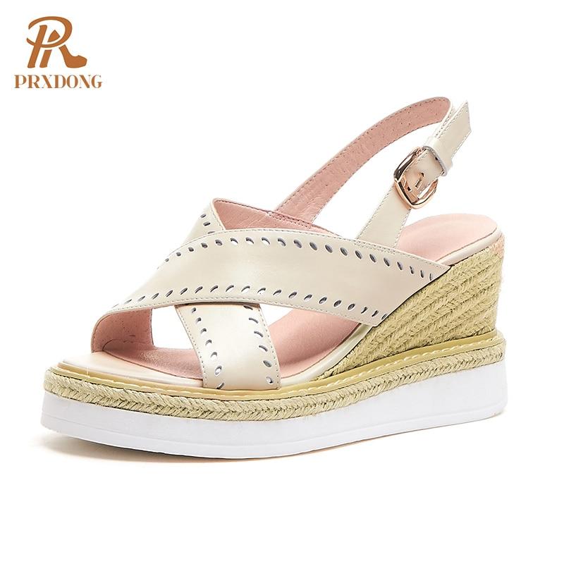 2021 Hot Sale Fashion Genuine Leather Women Sandals Shoes Wedges Heel Platform Elegant Summer Dress Party Casual Shoes Pumps 39