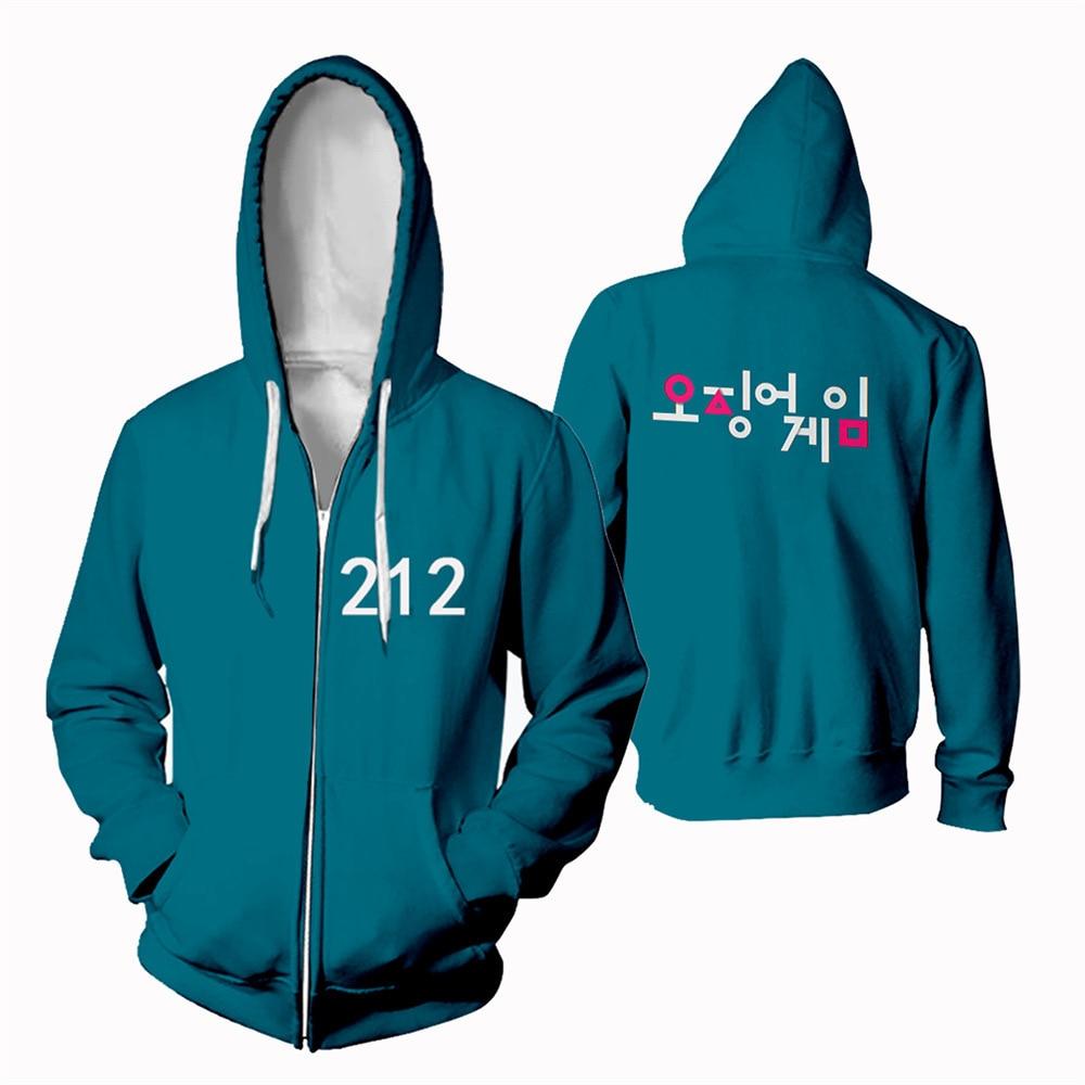 Толстовки с капюшоном на молнии, корейские драматические игры с аналогичным параграфом 218, спортивная одежда, осенний свитер, куртка для муж...