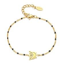 ZMZY or couleur mignon hibou lien chaîne Bracelets charme fille en acier inoxydable bijoux femmes Bracelet Bracelet émail arc-en-ciel Boho cadeau