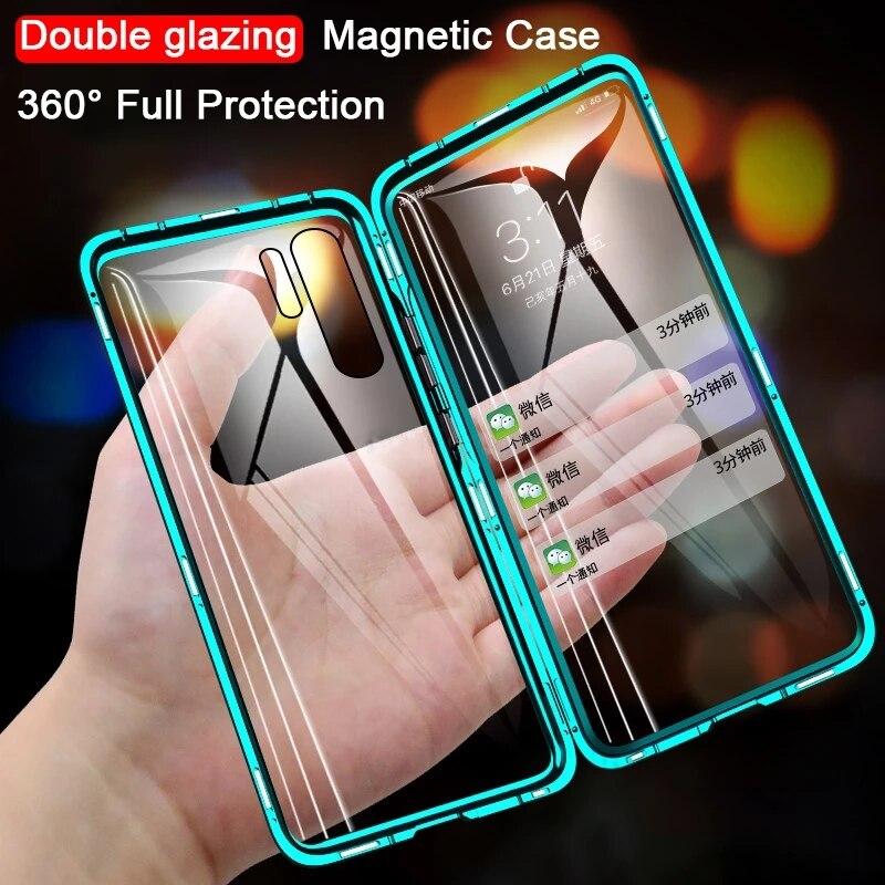 Funda magnética de Metal de doble cara para teléfono Huawei Honor amigo...