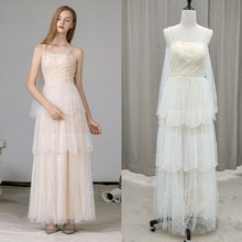Spaghetti Straps Pearls Tulle Wedding Bridesmaid Dress 2021 Pleats Ankle Length Beach Evening Prom P