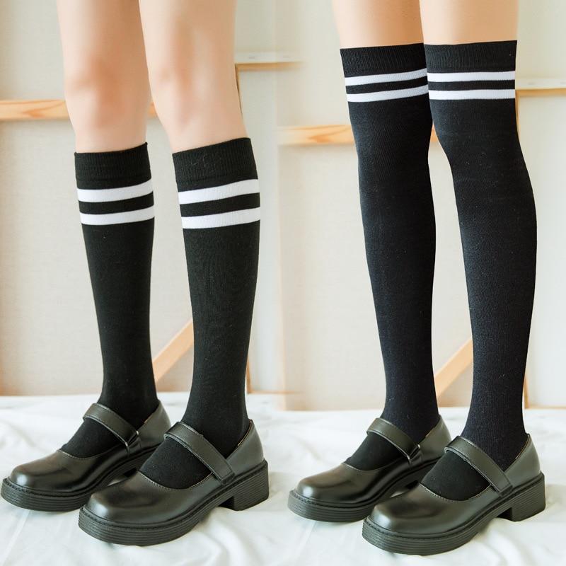 Long Winter Socks Womens Striped Stockings Warm Ladies Girls Black White Over Above Knee Socks Stockings Japanese Style 2021 New