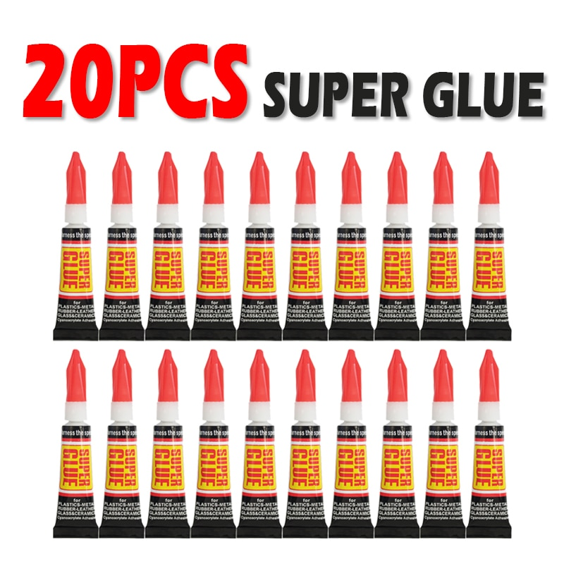 20pcs Liquid Super Glue Wood Rubber Metal Glass Cyanoacrylate Adhesive Stationery Store Nail Gel 502 Instant Strong Bond Leather