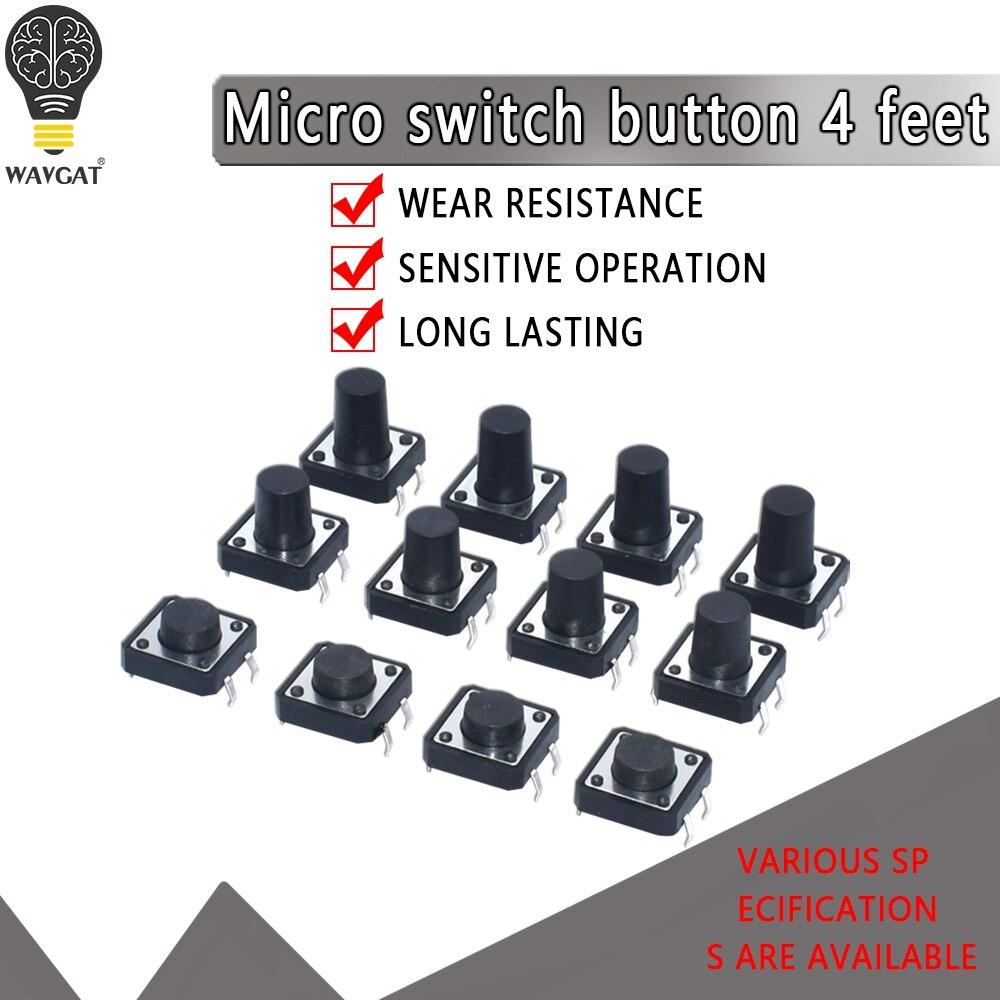 100 Uds 6x6 6*6*6*6*4,3mm 5mm 6 7 8 9 10 11 12 13 14 15 16 17 4Pin táctiles tacto botón Micro interruptor Auto-reset interruptores DIP