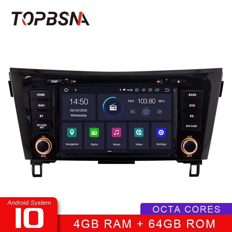TOPBSNA Android 10 reproductor de DVD de coche para Nissan X-Trail Qashqai 2013-2018 WIFI Multimedia GPS Navi 2 Din Car Radio vídeo estéreo RDS