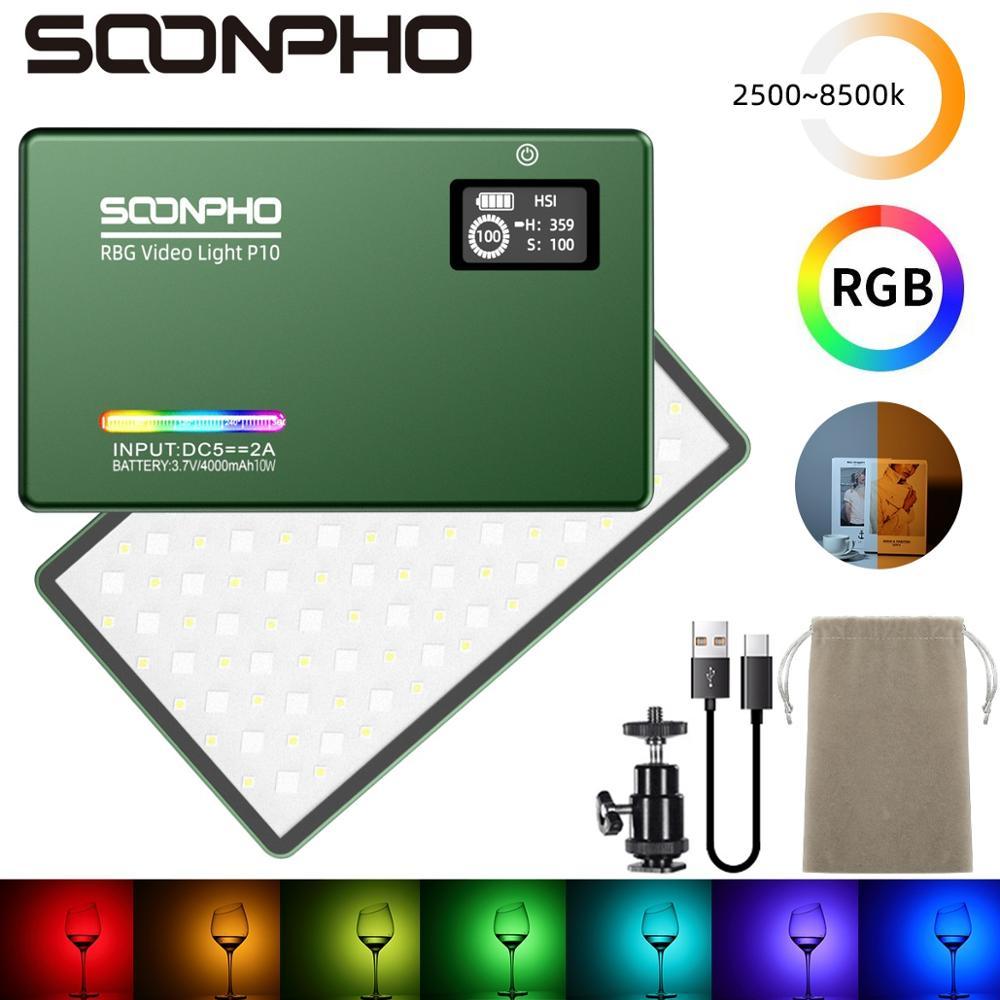 SOONPHO P10 2500K-8500K RGB LED Video Light CRI 97 Fill Light Built-in 4000mAH Battery Photographic Lighting for Shooting Studio