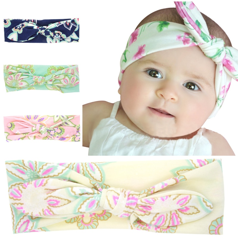 Floral Printed Infant Headband Rabbit Ears Headwraps Baby Knotted Turban Elastic Headband Girl Kids