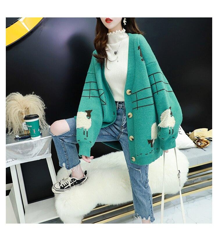 Hsa las mujeres suéter de invierno y Cardigans suéter de punto Poncho de oveja Chaqueta de punto larga de talla grande gruesa Casual de invierno cálido plana de punto