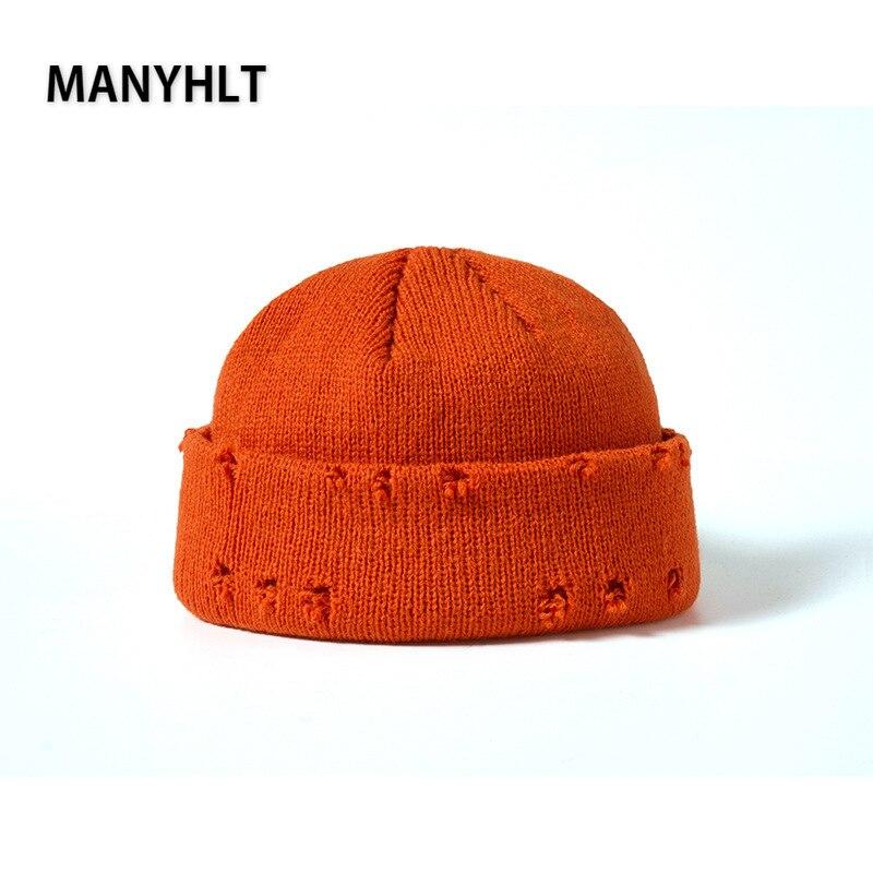 Мужские шапки-бини в стиле хип-хоп Харадзюку, шапки, вязаные шапки с рваными дырками, простые осенне-зимние мягкие хлопковые теплые шапки, ро...