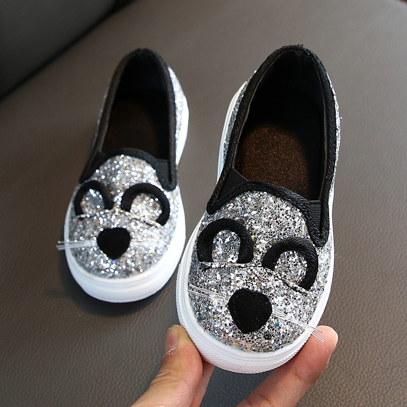 Girl's Sequin Sneakers 2020 Children Girl Low Top Casual Flat Shoes Spring Autumn Slip-on Loafer for