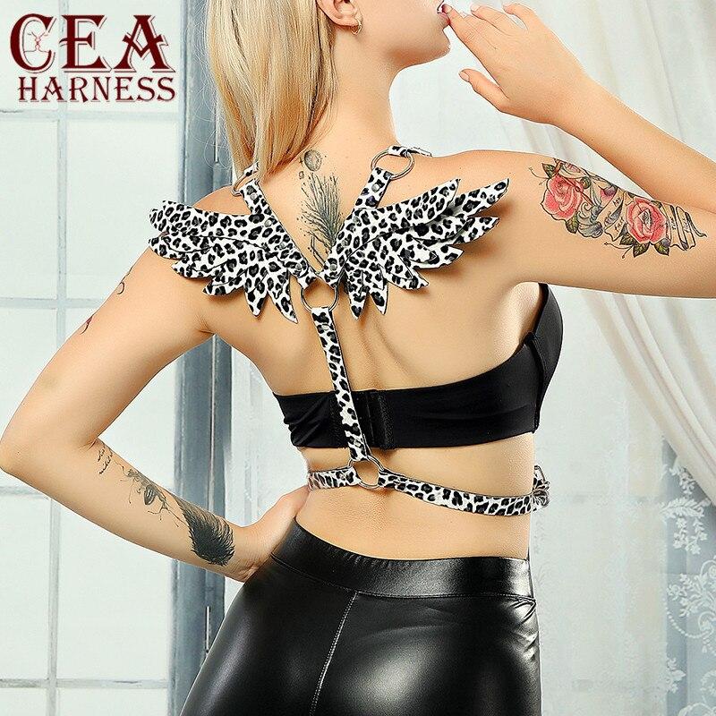 CEA, cinturón de leopardo, arnés de cuero con alas de Ángel, arnés Sexy para mujer, fiesta de club nocturno, Carnaval, alas de demonio gótico, Cosplay, correa de Ángel