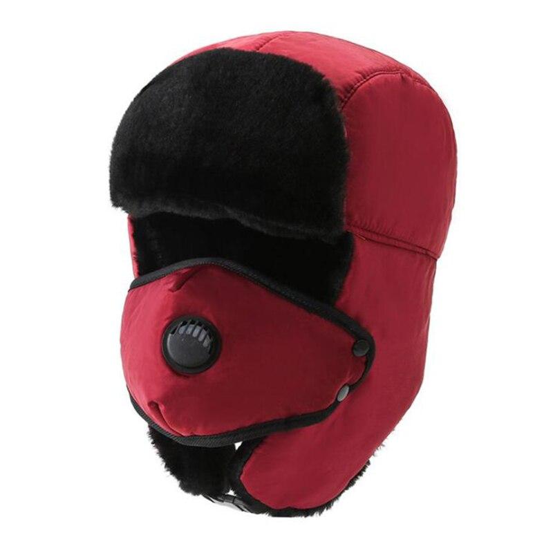 1pcs Thick Bomber Hat Unisex Breathable Detachable Mask Hats Women Men Cold Winter Warm Headwear Ski