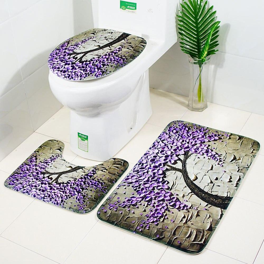 Nuevo árbol de la felicidad, alfombra antideslizante para baño, alfombras para el suelo, alfombras 3 uds. De calidad, alfombras absorbentes de franela, alfombrillas de baño