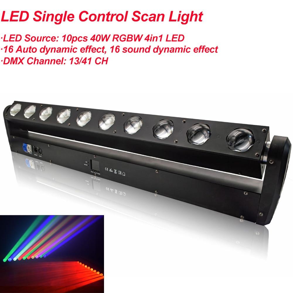 10x40 واط RGBW 4IN1 LED تحكم واحد تتحرك رئيس المسح الضوئي ضوء DMX512 DJ مصابيح جهاز عرض لشريط حفلة KTV عيد الميلاد تأثير مصباح