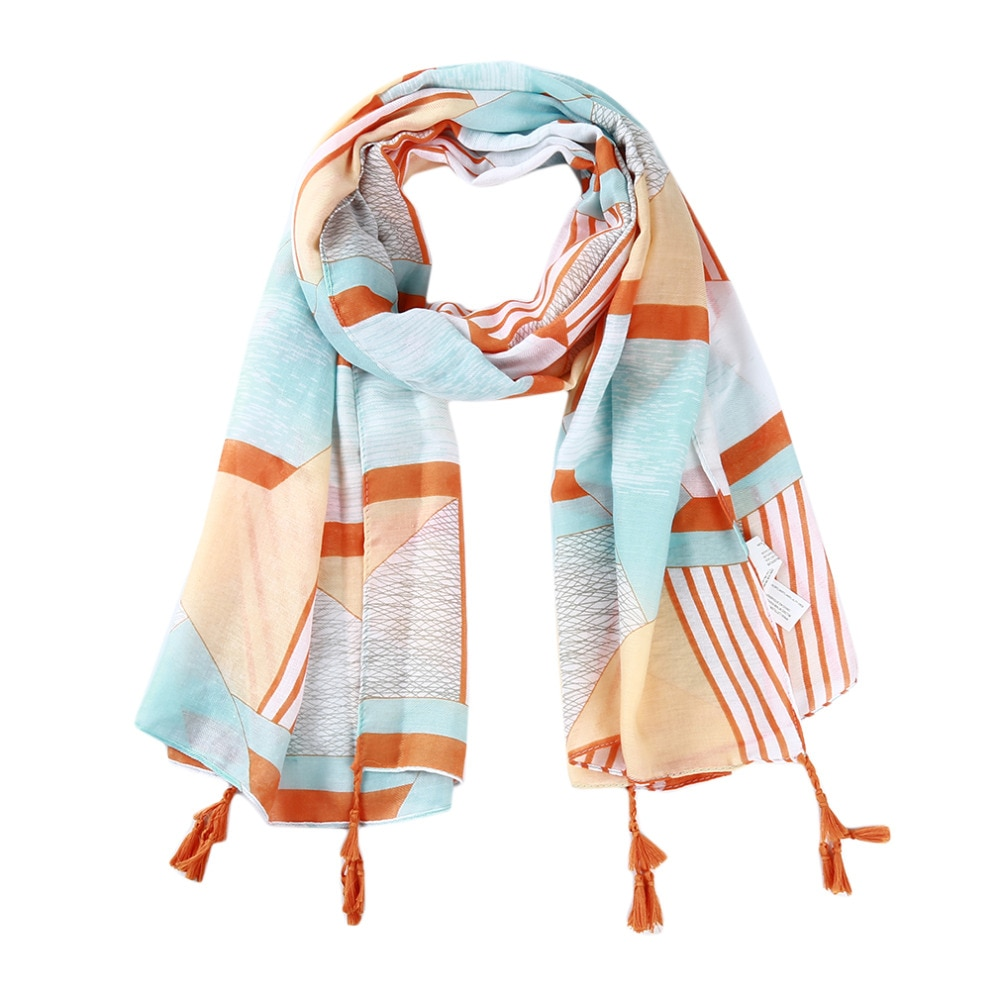 Primavera Verano mujer bufanda naranja rayas impresión pañuelos largos para mujeres cabeza Bandana Hijab Wild Beach Sunscreen Tassel chal