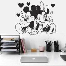 Bonito mickey & minnies mouse adesivos de parede para babys crianças meninas quartos decoração arte mural casca & vara pvc decalques de parede papel
