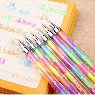 1 шт. Творческий 6 Цвет маркер, фломастер студентов Цвет Фул Шариковая ручка для рисования школьные канцелярские принадлежности