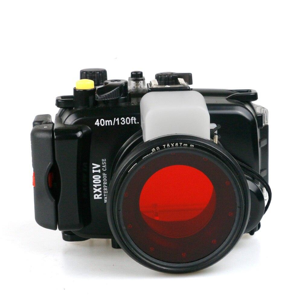 Para Sony RX100-IV DSC-RX100 IV RX100IV Mark IV M4 Mark 4 funda carcasa impermeable para cámara subacuática + filtro rojo de buceo de 67mm