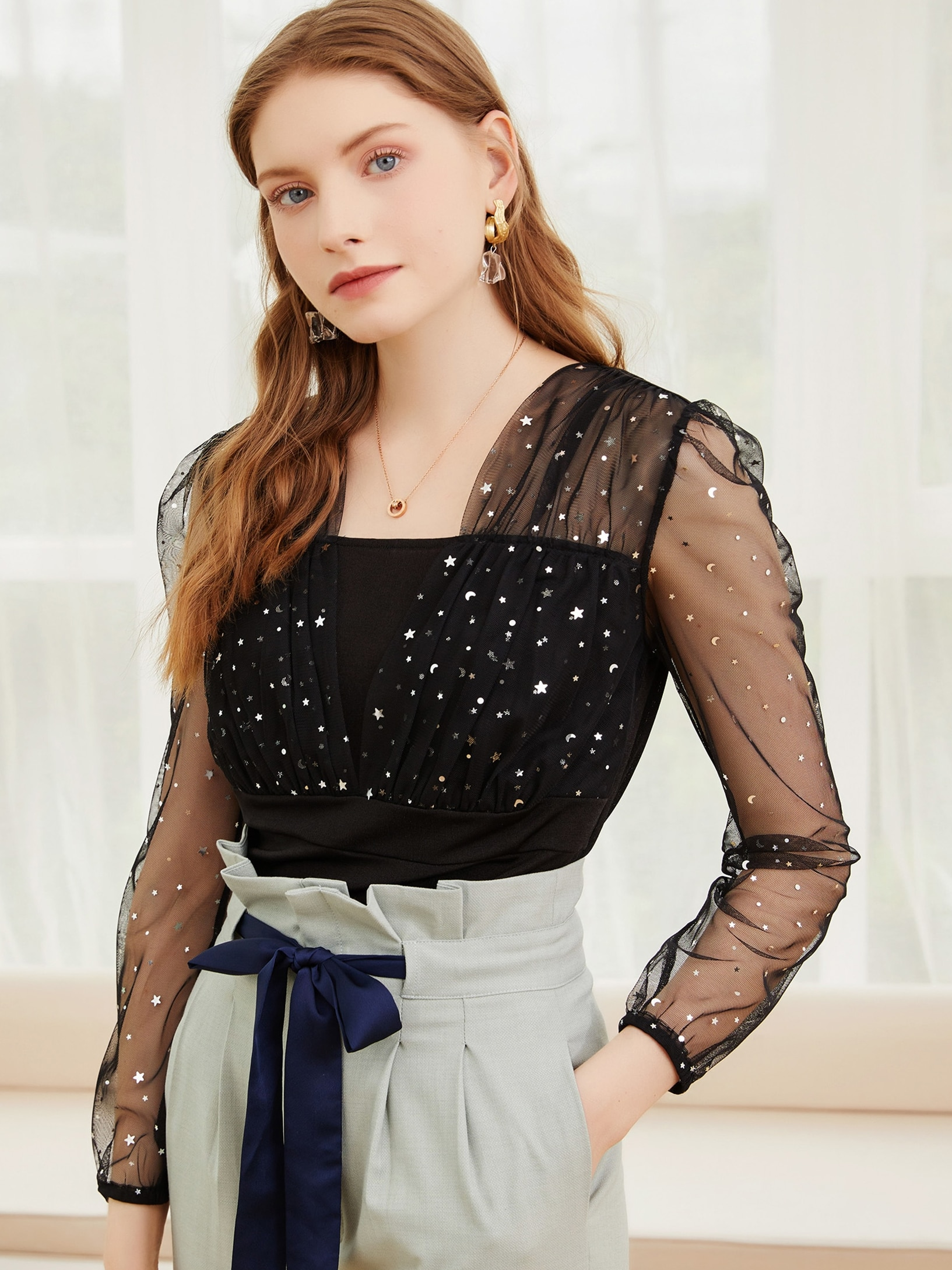 2021 spring and autumn new fashion Sequin micro penetration chiffon shirt versatile long sleeve Pull