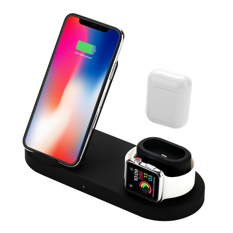 3-in-1 אלחוטי מטען בסיס 10W Bluetooth אוזניות עבור טלפון נייד עבור iPhone iWatch שעון AirPods סמסונג Huawei Xiaomi S9