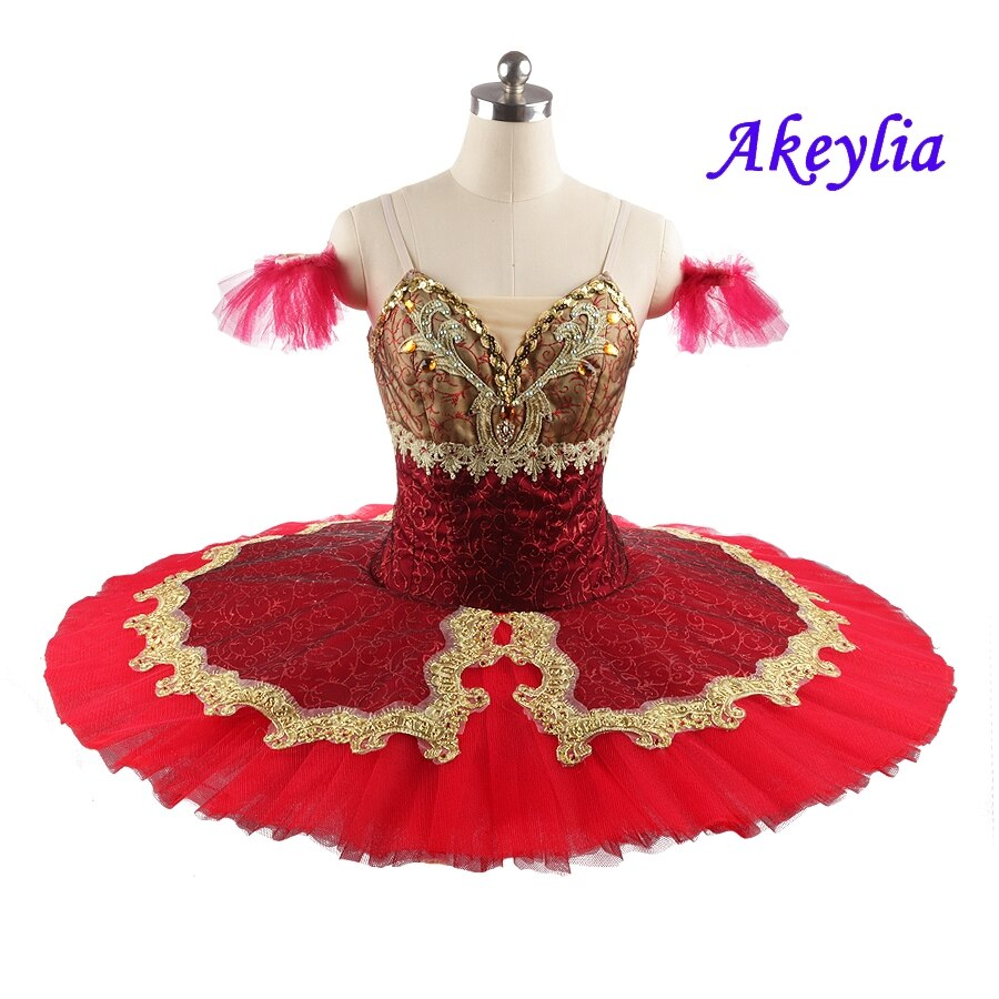 Esmeralda-فستان باليه كلاسيكي ، توتو ، فطائر ، توتو ، صناعة يدوية ، أحمر ، ذهبي ، للبالغين