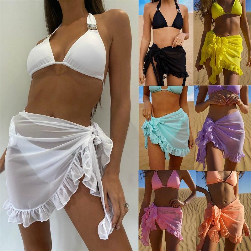 Women Swimsuit Bikini Cover-Ups Skirt Summer Solid Color Beach Wrap Skirt Swimwear Female Ruffles Trim Lace Up Sarong Cover Ups