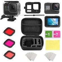 Für Gopro Zubehör Set für Gopro Hero 8 Wasserdichte Gehäuse/Lagerung Box/Silikon Fall/Gehärtetem Film/ filter Kit Action Kamera