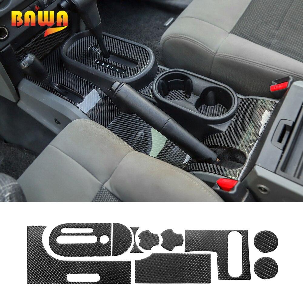 BAWA Automotive Interior Stickers for Wrangler JK Carbon Fiber Gear Shift Panel Decoration for Jeep Wrangler JK 2007-2010