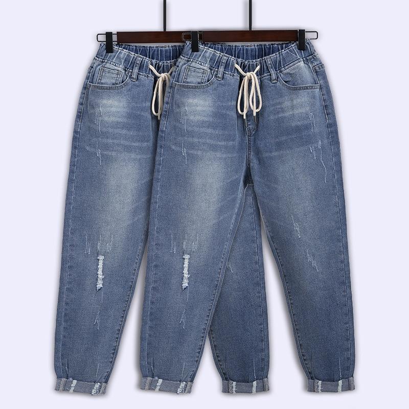2021 Spring Denim Jeans women Large size L-8XL loose brand European and American thin loose harem  pants women new elastic waist