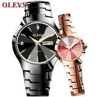 Fashion Jewelry Men's Wristwatch Tungsten Carbide Calendar Date Weekday Quartz Couple Watches for Womens Waterproof Clock Hours
