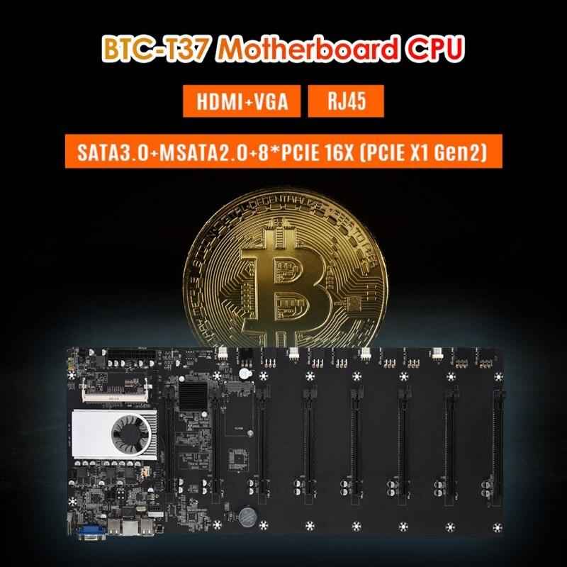 New BTC-T37 Mining Motherboard 4Gb DDR3 PCIe 8 Graphics GPU Card X16 SATA3 4USB Gigabit Rj45 HDMI-compatible VGA Sodimm