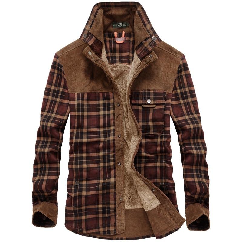 الشتاء قمصان الرجال سميكة الدافئة الصوف قميص رجالي منقوشة القطن الخالص Camisa Masculina عادية موضة السادة قميص أوم M-4XL