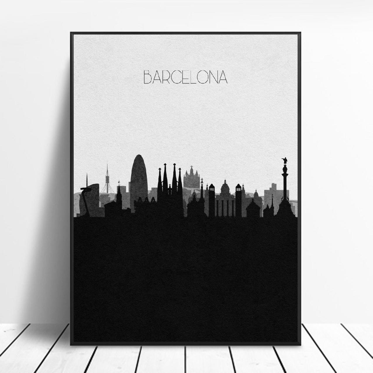Póster de lona de arte del Skyline de Barcelona, pintura de decoración...