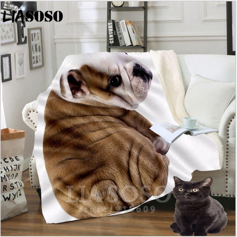 Sofá Anime animal mascota perro juvenil ropa de cama estampado Pug manta de peluche colcha para niño niña manta de viaje sofá colcha fina A08
