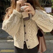 Cardigan Sweater Korean Autumn Winter Round Neck Single Breasted Hemp Pattern Loose Long Sleeve Knit