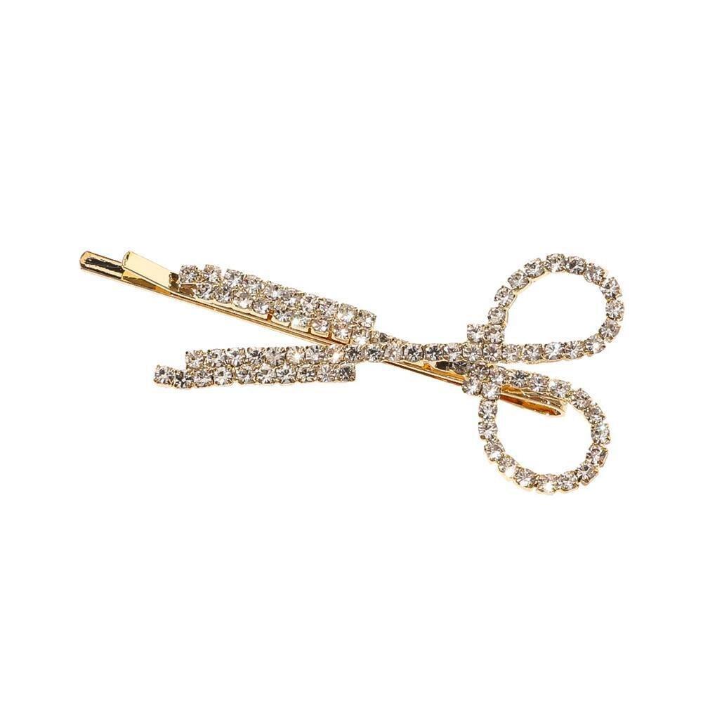 ¡Novedad! Clips dorados y plateados de diamantes de imitación creativos y a la moda para mujer, tijeras, horquillas, horquillas, accesorios para el cabello, forma H M1H5