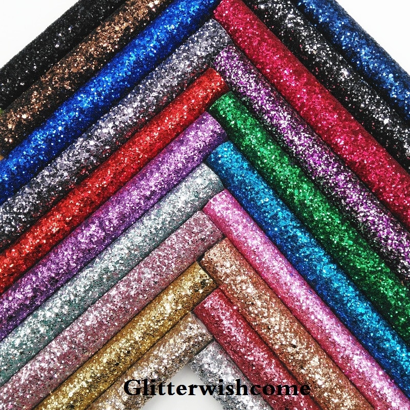 Glitterwishcome 30X134CM minirrollo de cuero sintético, tela de cuero grueso de brillo vinilo para arcos, GM021
