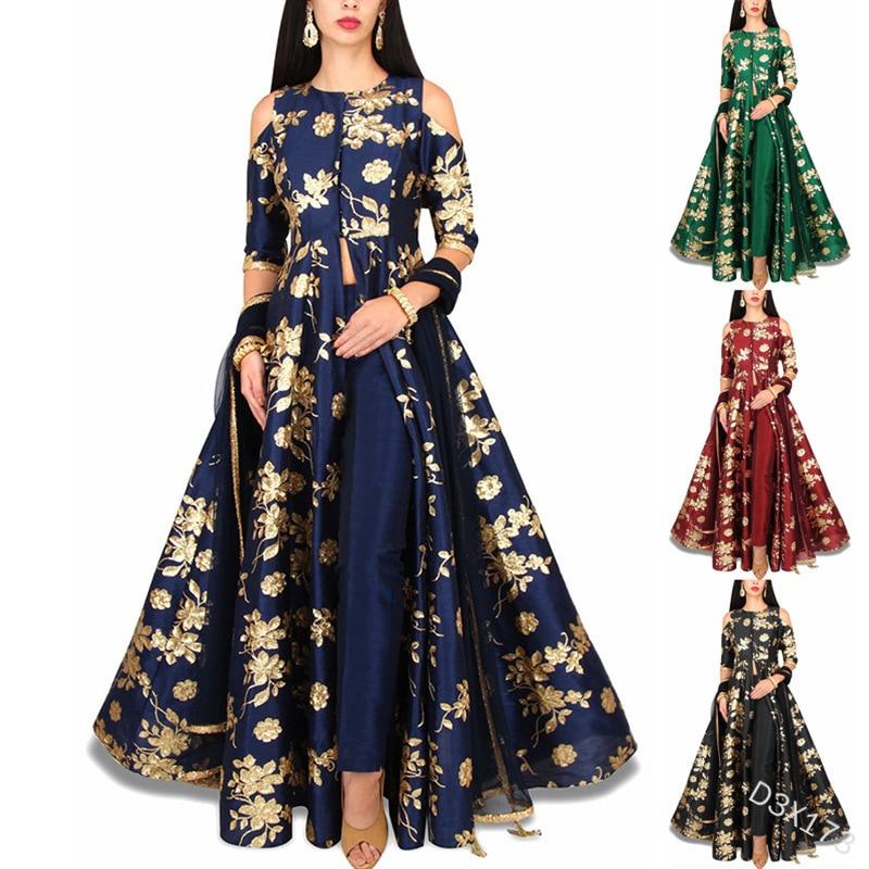 Spring Elegant Print Women Dress Moroccan Kafan Slim Fit Big Swing Off Shoulder Maxi Vestidos India A-line Party Vestidos 2021