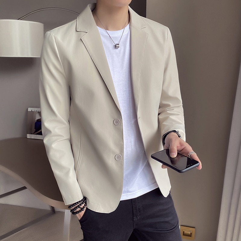Chaqueta holgada informal para hombre, moda coreana, manga larga, sencilla, de alta...