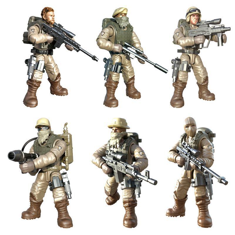 ABS soldado conjunto bloques movibles campo militar hombre rompecabezas bloques juguete niño regalo ensamblado niño cumpleaños