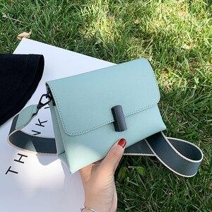 Solid color Square Crossbody bag 2020 New High-quality PU Leather Women's Designer Handbag Wide Shoulder strap Messenger Bag