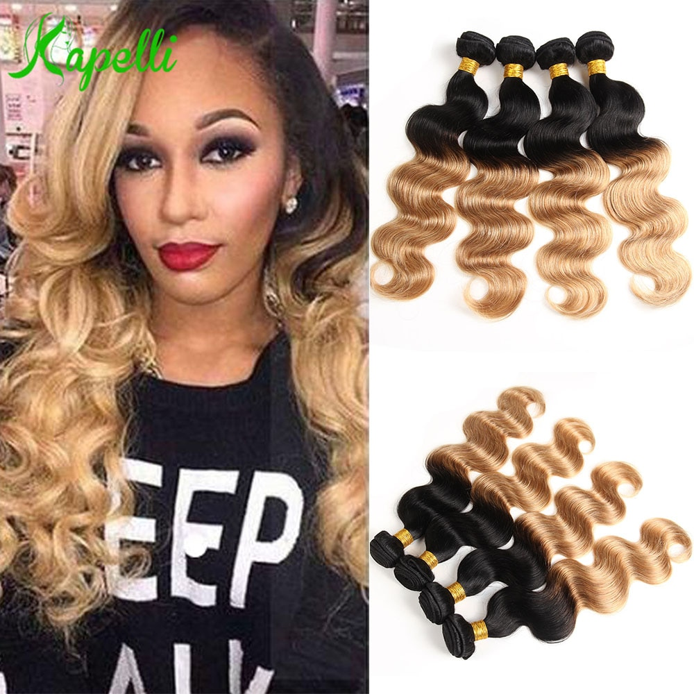 Ombre Brazilian Hair Body Wave Bundles Blonde 100% Human Hair 1/3/4 Bundles Deals Remy Pre Colored H