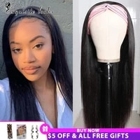 headband wig human hair brazilian straight human hair wigs 150 pre attached remy machine made wig for black women scarf wig