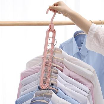 Anti-slip 9-hole 360° Rotating Plastic Clothes Hanging Racks Hanger Sorting Drying Rack Hook Wardrobe Organizer