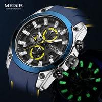 Часы MEGIR мужские наручные в стиле милитари, модные Водонепроницаемые Синие брендовые с силиконовым ремешком, роскошные светящиеся