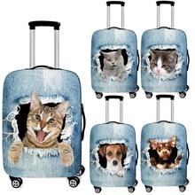 Cubierta de equipaje con estampado de gato/perro en el agujero para equipaje de viaje, cubierta de maleta elástica, cubierta de carrito antipolvo